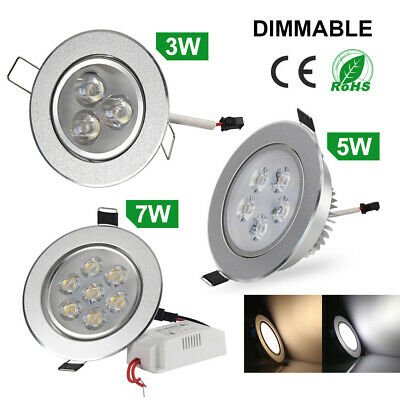 3W/5W/7W LED Recessed Ceiling Light Downlight Fixture Lamp Light Driver Dimmable