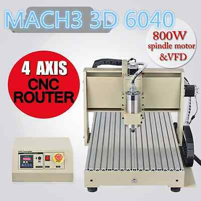 4 Axis Cnc Router Engraver Engraving Machine Drilling Milling 6040 3D Cut Tool