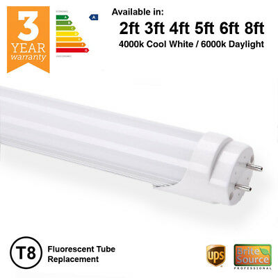 Brite Source T8 or T12 LED Fluorescent Tube Replacement 2ft 3ft 4ft 5ft 6ft 8ft