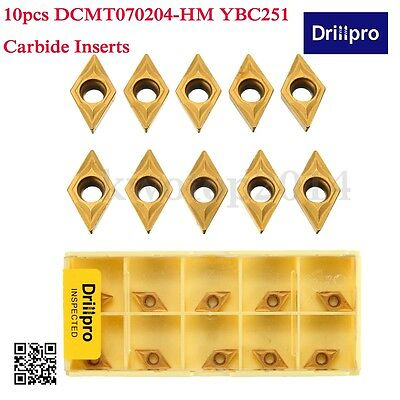10x DCMT0702 DCMT070204 YBC251 Carbide Inserts For Lathe Turning Tool Boring Bar