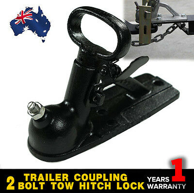 Trailer Coupling Hitch Lock 50mm 2 Bolt Tow Ball Caravan Truck 2000kg
