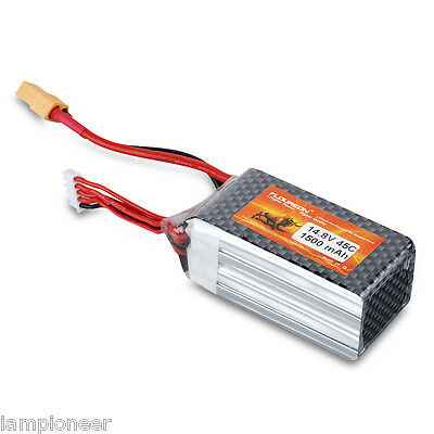 1500mAh 4S 14.8V 45C Lipo Battery Deans Plug for RC Helicopter Hobby Car Truck