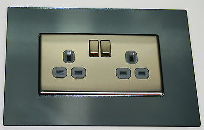 Finger plate Double Surround-Smoked Grey Mirror
