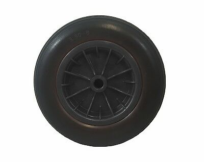 "PU 14"" BLACK Puncture Proof Solid 3.50-8 wheelbarrow wheel ROUND TREAD with AXLE"