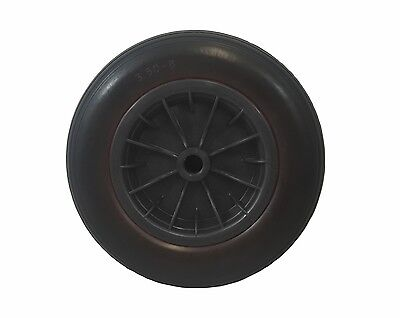 "PU 14"" BLACK Puncture Proof Solid wheelbarrow wheel ROUND tyre 3.50-8 1/2"" BORE"