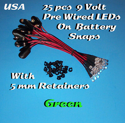 25 PRE WIRED 5MM LEDs 9 VOLT GREEN LED ON BATTERY SNAP 9V PREWIRED (Halloween)