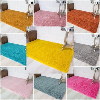Bright Colourful Cosy Shaggy Rugs Thick Non Shed Easy Clean Cheap Fluffy Rug UK