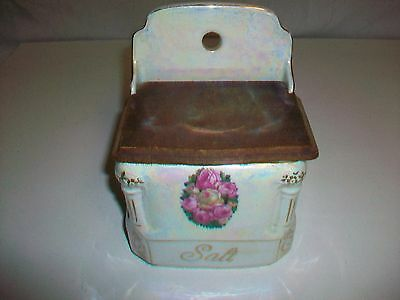 Vintage Victoria China Czechoslovakia Salt Canister with wood lid