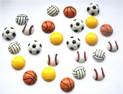 25 Mixed Sport Flatbacks - Football Golf Rugby Tennis Basketball + Free P&p