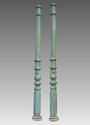 Antique Victorian Wooden Carved Painted Column Pair Shipping Available