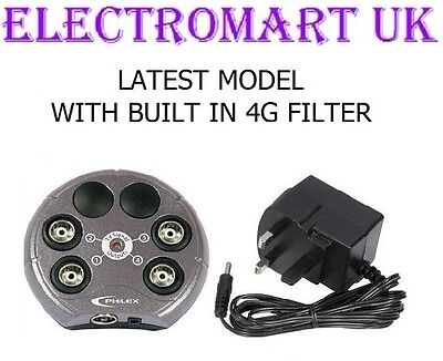 Digital Tv Freeview Aerial Amplifier Signal Booster 4 Way Built In 4G Filter