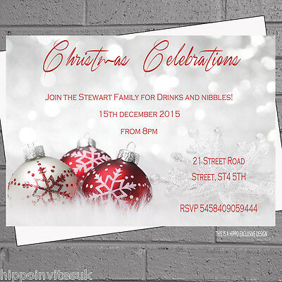 12 x Christmas Party Invitations Xmas Personalised Red BaublesH1031