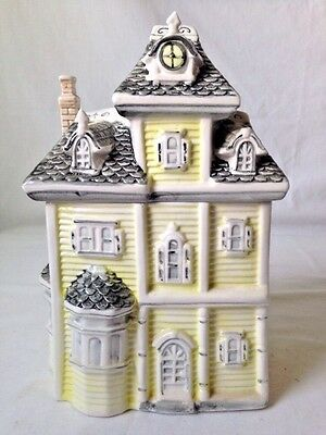 Yellow Victorian House Cookie Jar Canister w Gray Shingle Roof