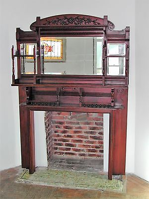 ANTIQUE VICTORIAN AESTHETIC MOVEMENT MIRRORED FIREPLACE MANTEL 1880's / 1890's