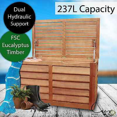 NEW Eucalyptus Timber Outdoor Storage Container Box Brown Shed Garden Deck Chest