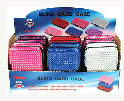 Wholesale Lot RFID Blocking Aluminum Card Case Wallet w/ Crystal Bling 15 Color