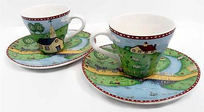 Sango Green Acres Set of 2 Tea Cups and 2 Oval Saucers 4873-20 Apple Orchard