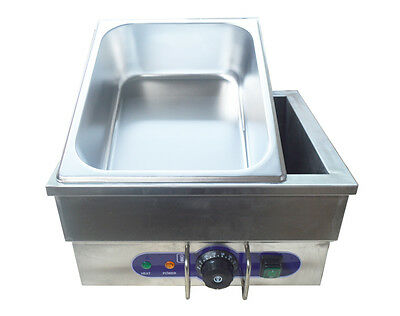 Food Warmer Portable Steam Table Countertop 110V 1500W 13×8×6in  Stainless Steel