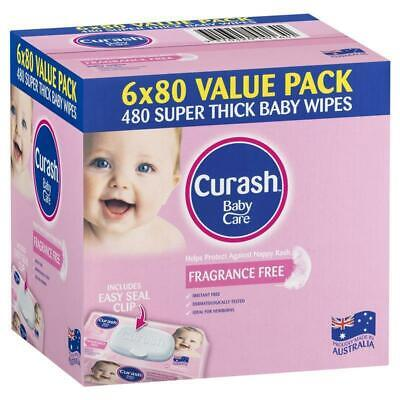 Curash Baby Wipes Fragrance Free 6 X 80 Value Pack
