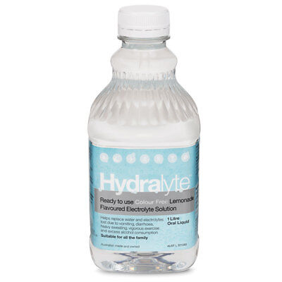 Hydralyte Liquid Colour Free Lemonade Flavoured 1 Litre