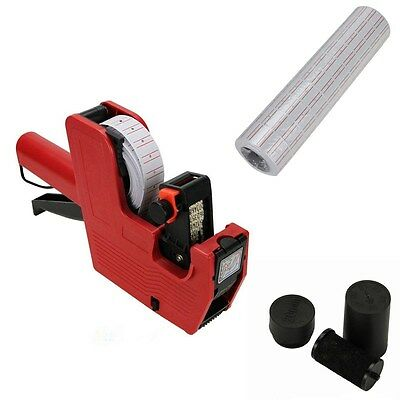 MX-5500 8 Digits Price Tag Gun + 5000 White with Red lines labels + Ink
