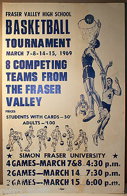 """22"""" Fraser Valley Basketball Tournament 1969 Vancouver Canada Cardboard Sign SFU"""