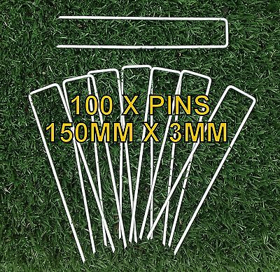 100 x WEED MAT PINS - 3MM x 150MM SECURE WEEDMAT, GEOTEXTILE, BIRD NETTING, TURF