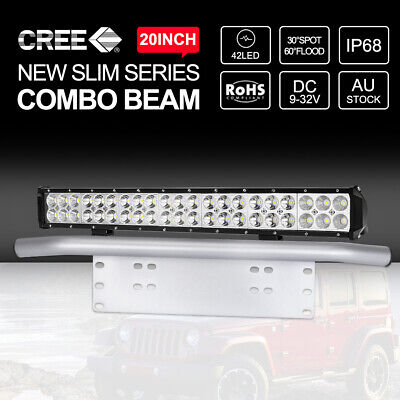 20inch 294W CREE LED Light Bar SPOT FLOOD Driving & Silver Number Plate Frame