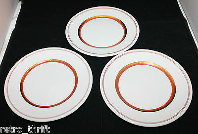 Set of 3 Royal Copenhagen White Gold Orange Butter Bread Plates Denmark AS-IS