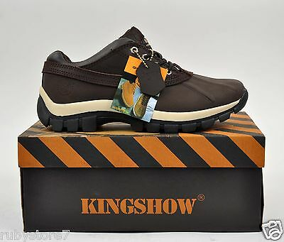 """KINGSHOW Men's Brown 4"""" Winter Snow Work Boots Shoes Leather Waterproof 7014"""