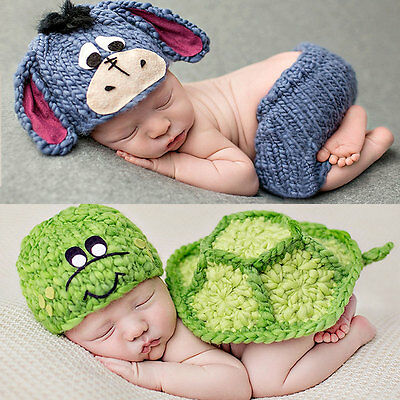 2Pcs Unisex NewBorn Baby Hat Set Knitted Costume Clothes Photo Photography Props