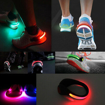 2x LED Flashing Shoe Safety Clip Running Jogging Night Time Trainers Blue Light