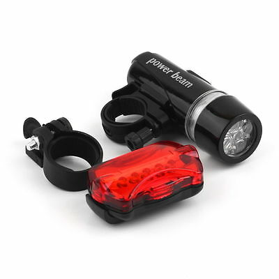5 LED Lamp Waterproof Bike Bicycle Front Head Light+Rear Safety Flashlight SW