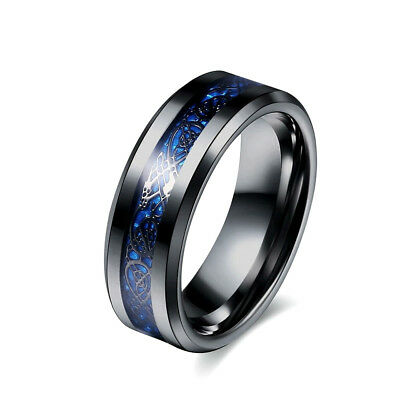 Celtic Dragon Black Stainless Steel Unisex Ring With Blue Underlay Size I To Z+4