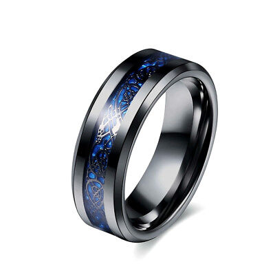Celtic Dragon Black Stainless Steel With Blue Underlay Unisex Ring Size K To Z+3