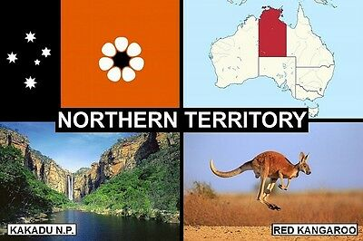 SOUVENIR FRIDGE MAGNET of THE STATE OF NORTHERN TERRITORY AUSTRALIA & KAKADU NP