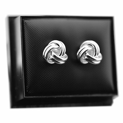Solid 925 Sterling Silver 9.5mm Knot Stud Earrings / Studs with Gift Box