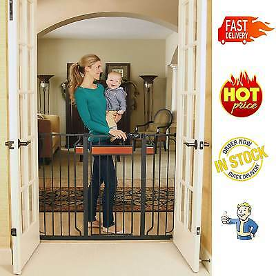 Baby Pet Dog Child Extra Tall Walk Thru Gate Safety Fence Regalo Metal Wide New
