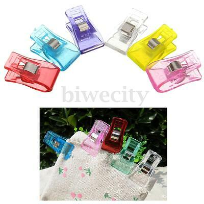 50/100Pcs Plastic Wonder Clips Mixed Colors For Craft Patchwork Sewing Quilting
