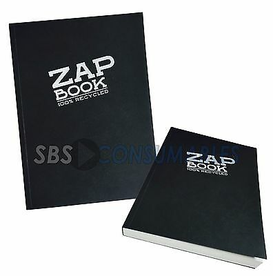 Clairefontaine Zap Book A5 Sketch Book 100% Recycled 160 Sheets Black Cover 3364