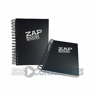 Clairefontaine Zap Spiral Bound A6 Sketch Book - Recycled 160 sheets Black cover