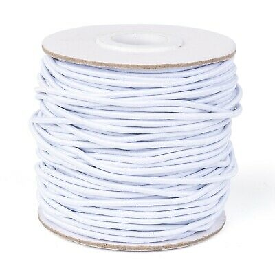 40m/roll Round Elastic Cord with Nylon Outside and Rubber Inside White 2mm