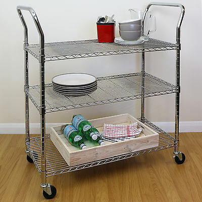 Adjustable 3 Tier Large Chrome Wire Catering/Food/Event Drinks Clearing Trolley