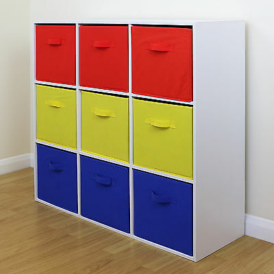 9 Cube Kids Red Yellow & Blue Toy/Games Storage Unit Girls/Boys Bedroom Shelves