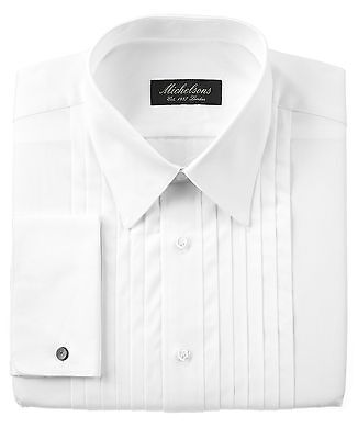 $75 MICHELSONS Men FRENCH-CUFF Dress Shirt Pleated Tuxedo White SIZE 15 34/35 M