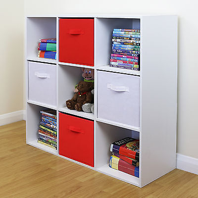 9 Cube Kids Red & White Toy/Games Storage Unit Girls/Boys Bedroom Shelves/Boxes
