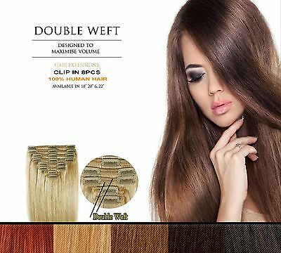Double Weft Clip In 8pc Remy 100% Human Hair Extensions Full Head SILKY LUXATI