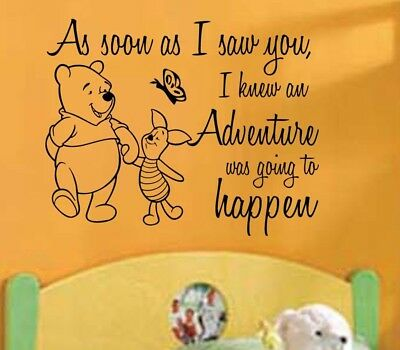 Winnie The Pooh Wall Decal As Soon I Saw You Quote Nursery Decor Shower Gift
