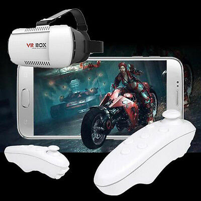 VR BOX Virtual Reality 3D Glasses Bluetooth Remote Control For Smartphone