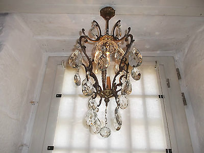 French gorgeous bronze crystal droplets one light divine vintage
